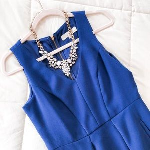 LOFT Dresses - LOFT Blue V-neck Pocket Work/Career Dress